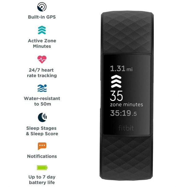 Fitbit Charge 4 Fitness Tracker With GPS - Black