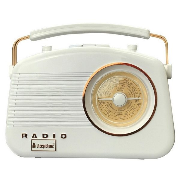 Steepletone Brighton Retro Radio - White & Copper