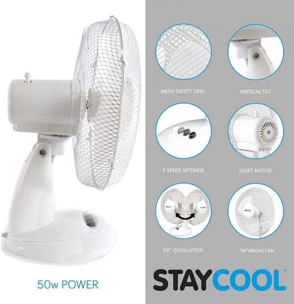 """Stay Cool 16"""" Desk Fan"""