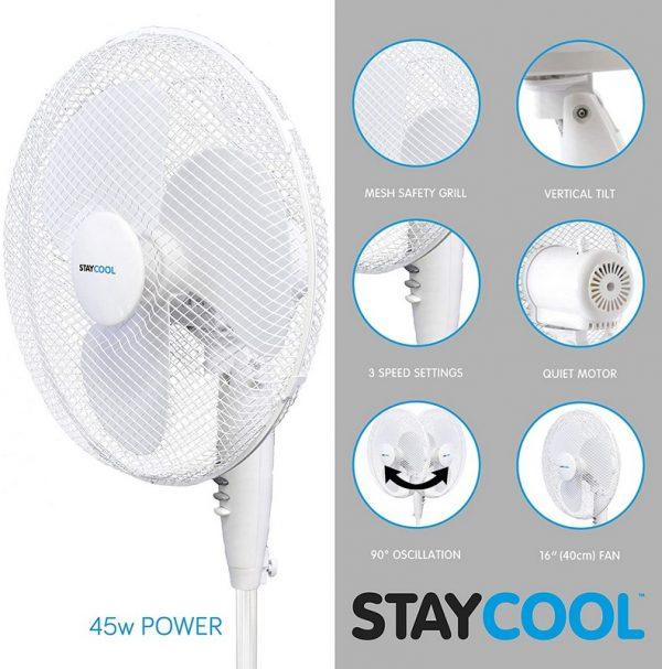"""Stay Cool 16"""" Pedestal Fan"""