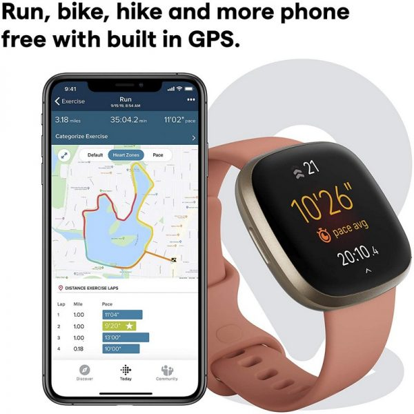 Fitbit Versa 3 Fitness Smart Watch – Pink Clay