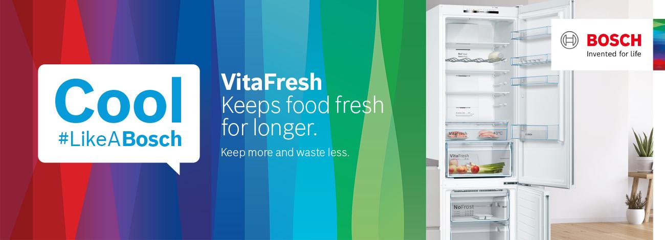 FridgeFreezer, Cool LikeABosch, VitaFresh, Keeps food fresh for longer