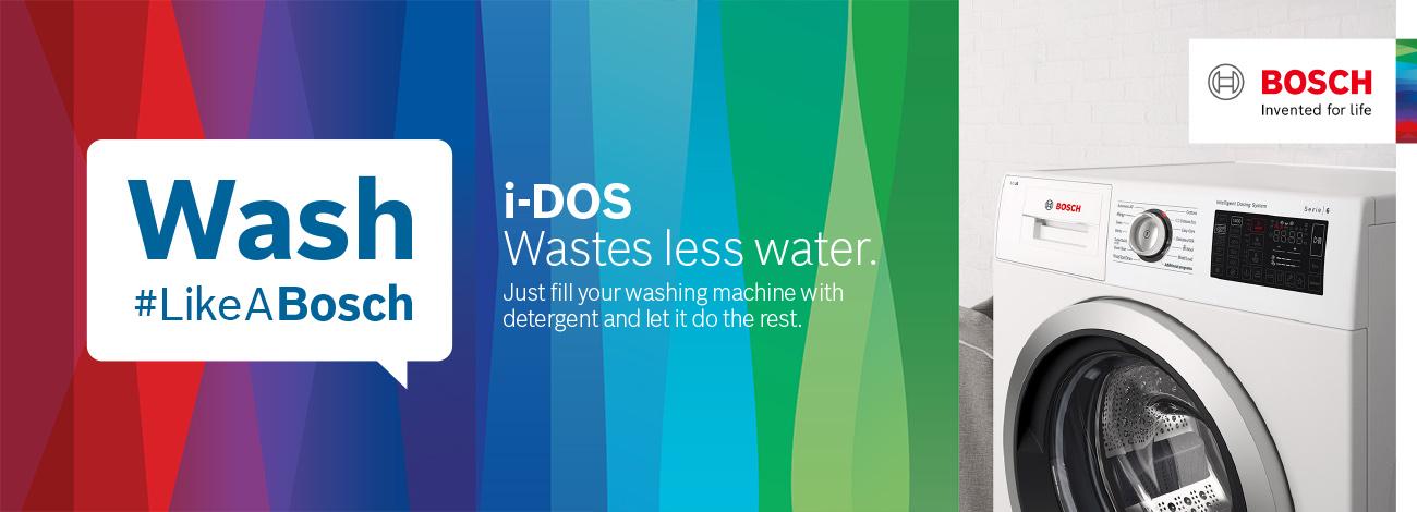Bosch Washing Machines, i-DOS wastes less water