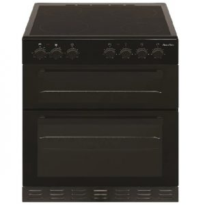 PowerPoint 60CM Double Cavity Cooker with Ceramic Hob – Black