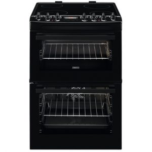Zanussi 60CM Double Cavity Cooker with Ceramic Hob – Black